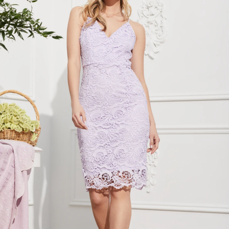 purple embroidered lace dress from Honey