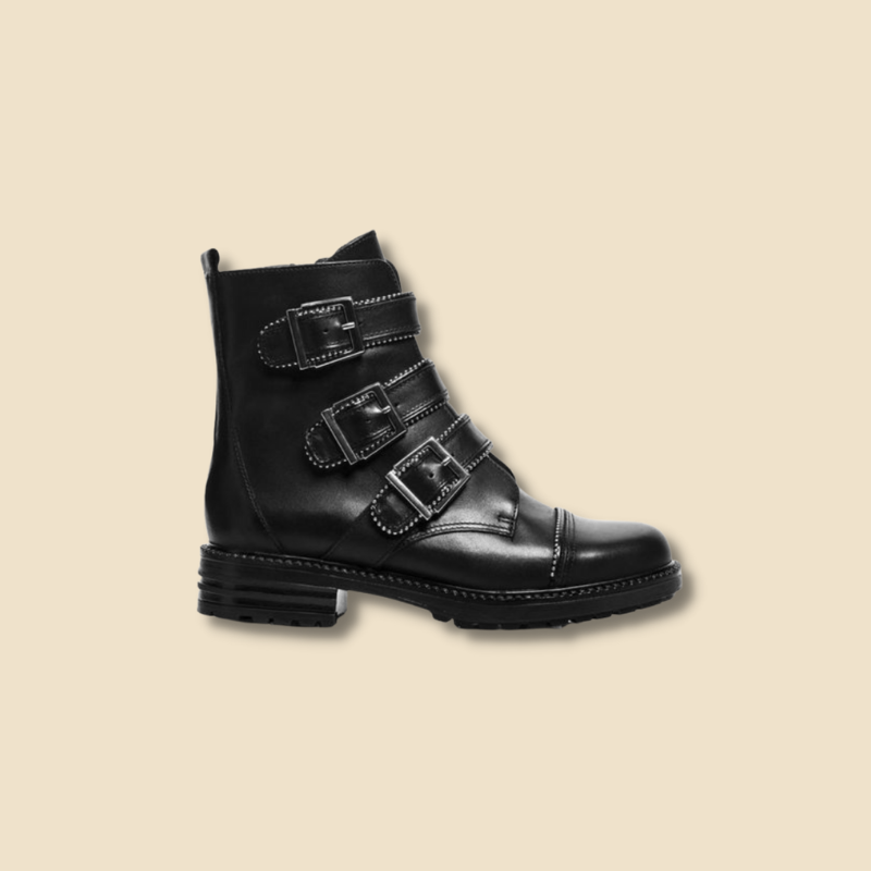 black moto ankle boots