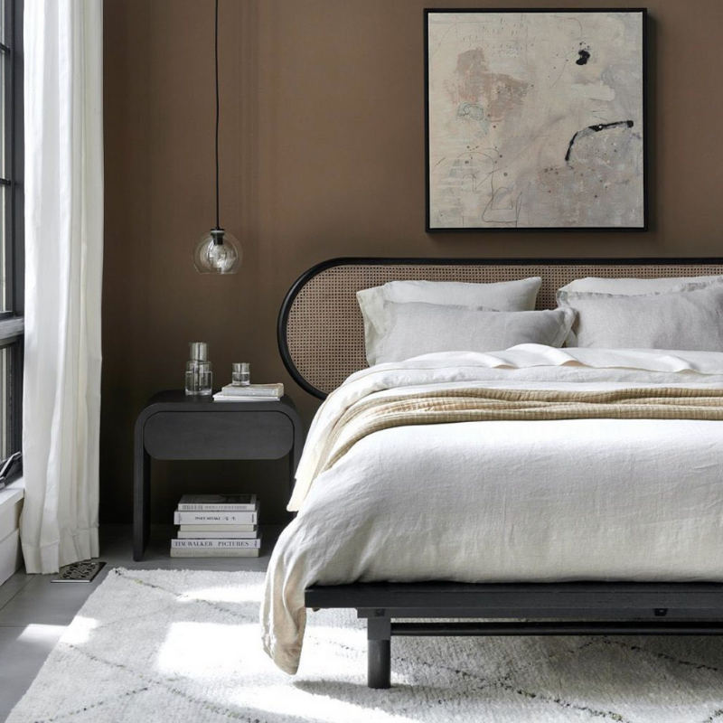 Rounded edge bed frame and night stand