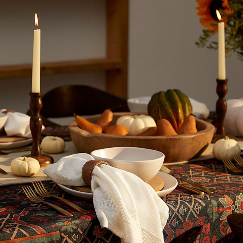 Fall themed tablescape with brown and orange colour scheme from Simons